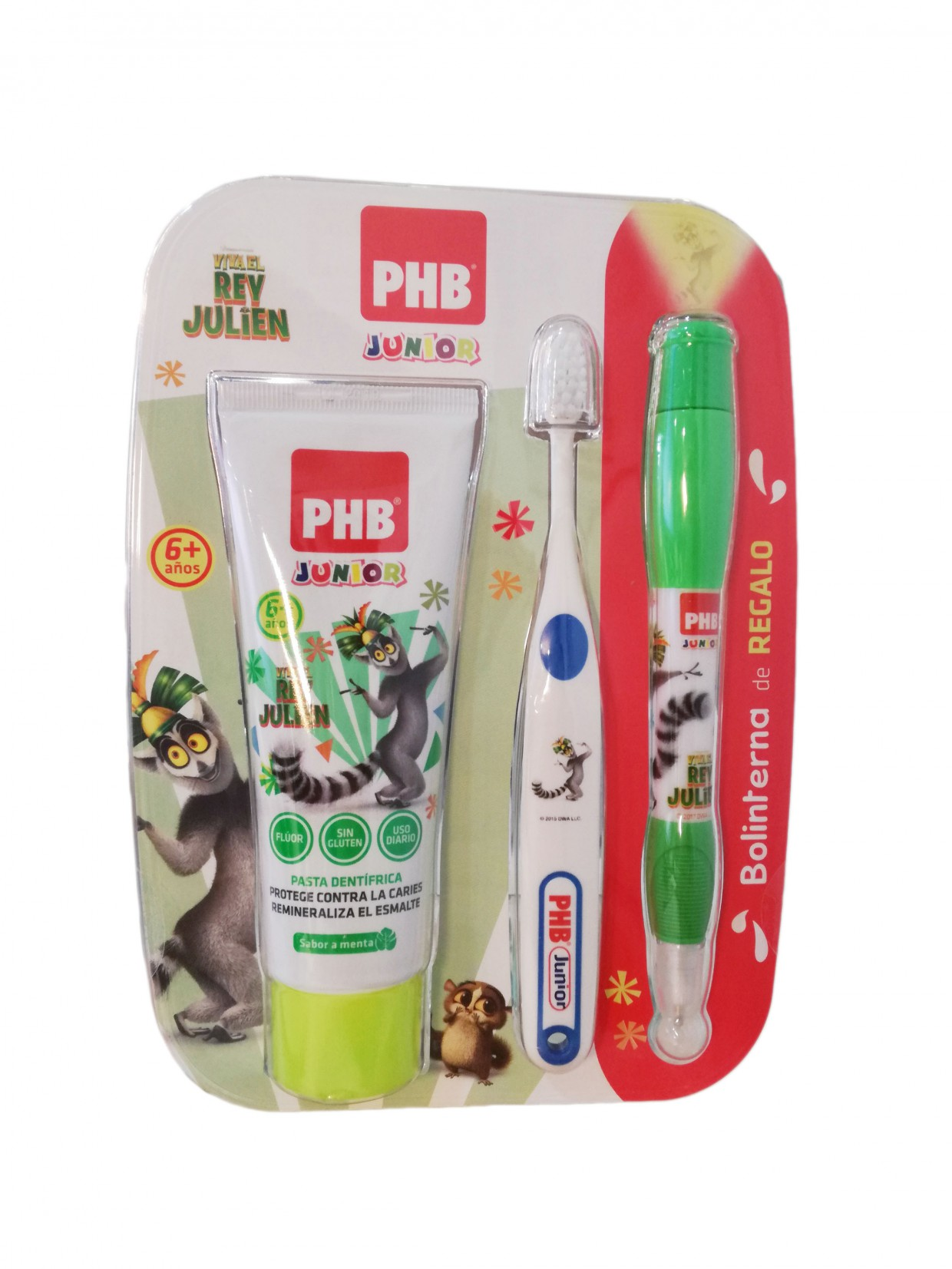 phb junior pack cepillo+pasta+linterna regalo